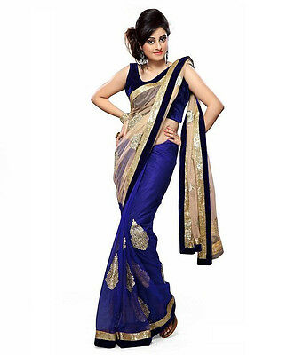 Indian Bollywood Designer Blue Net Embroidered Sari Party Wear Saree as0c