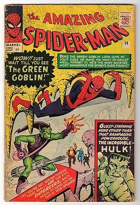MARVEL Comics SPIDERMAN spider-man #14 VG- 1st GREEN GOBLIN AMAZING