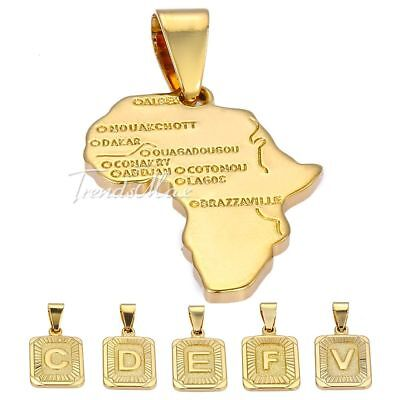 MENS WOMENS UNISEX Yellow Gold Filled GF Initial Letter Africa Map Pendant Gift