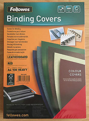 FELLOWES 100 Leatherboard A4 Binding Covers Heavyduty - Red