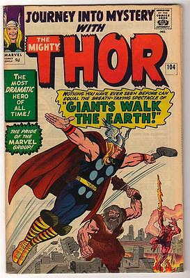 Marvel Comics 5.5  THOR  #104  JOURNEY INTO MYSTERY FN+ avengers GIANTS WALK