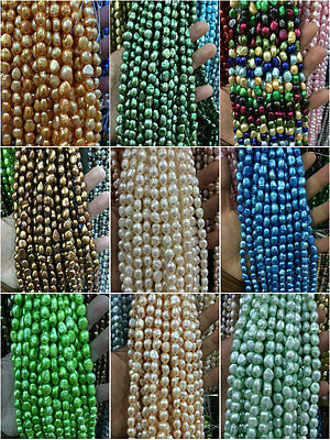 """Wholesale 8-9MM Baroque natural Jewelry making pearls loose beads 14 """" 21Color"""