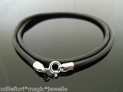 "3mm Black Leather 925 Sterling Silver Necklace Or Wristband 16"" 18"" 20"" 22"" 24"""