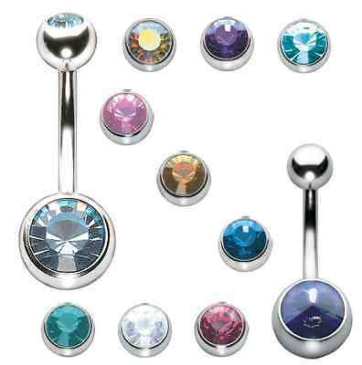 Stainless Steel Jewelled Gem Belly Bar Navel Button Ring 1.6mm 8 10 12mm UK