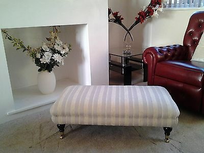 Kingston Large Footstool / Coffee Table Chenille Stripe Or Your Own Fabric