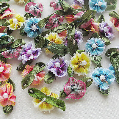 60pcs Ribbon Flowers Bows With Bead Sewing Appliques Craft Wedding Decoration