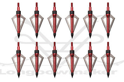 12PK Hunting Arrow Red Broadheads 100Grain 3 blade - Fits Crossbow and Compound