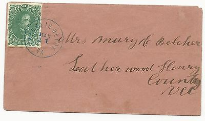CSA Scott #1 Stone 2 Pos 37 Overinked Blue Franklin Depot VA CDS March 21 (1862)