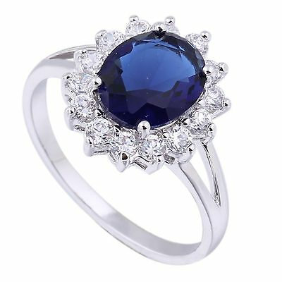 Lady Diana ´s Ring Verlobungsring Kate Middleton William royalblau Zirkonia NEU