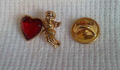 Vintage Avon Gold Color Cupid Angel Pin LApel Red Ruby Heart