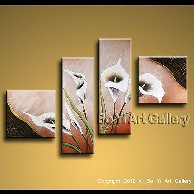 Modern Contemporary Oil Painting Floral Lily Flower Wall Art Home Decor BoYi