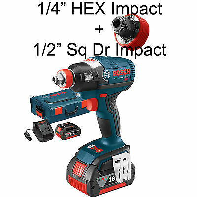 "Bosch Tools Brushless Socket Ready Impact w/ 1/4"" Hx+1/2"" Sq 4Ah IDH182-01L NEW"