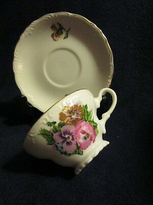 Vintage Royal Sealy Bone China Tea Cup & Saucer white with delicate floral