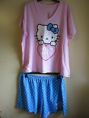 NWOT HELLO KITTY PAJAMA SET FOR WOMAN COLOR BLUE AND PINK SIZE XL/XG/TG