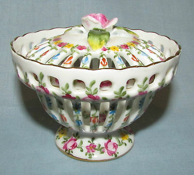 Reticulated Porcelain Ceramic Floral Painted Round Trinket Ring Box Vanity