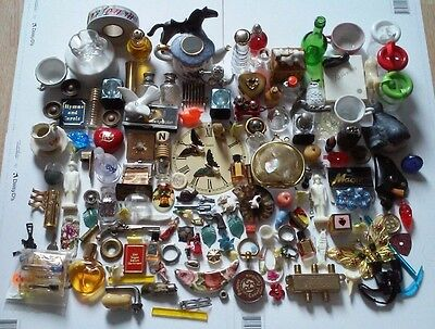 Vintage 130 Pieces Junk Drawer Huge Lot Perfume, Toys, Craft, Jewelry Parts, Ect