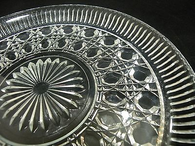 Vintage Federal Glass Breakfast Plate Windsor Button and Cane Clear Cookie Cake