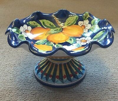 Vietri Pottery-8,1/4inch Scalloped Bowl W/Pedestal.Made/Painted by hand in Italy