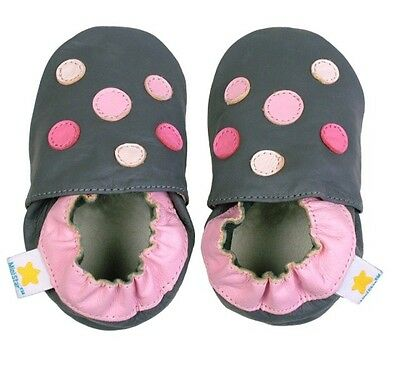 New Ministar Infant Girls Shoes Polka Dots Grey Pink Leather S 0-6m Bobux