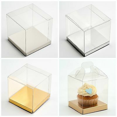 Transparent PVC Cube Cup Cake Wedding Favour Gift Boxes with Platform Bases