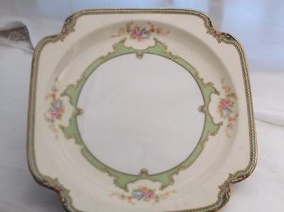 VINTAGE 6 LOT  NORITAKE FLOREAL SQUARE LUNCH SALAD PLATE FLORAL GREEN GOLD