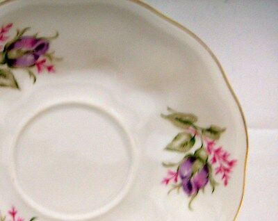 2 Favolina Glass Saucers Only Lavender Pink Roses Elf Penstemon Poland White