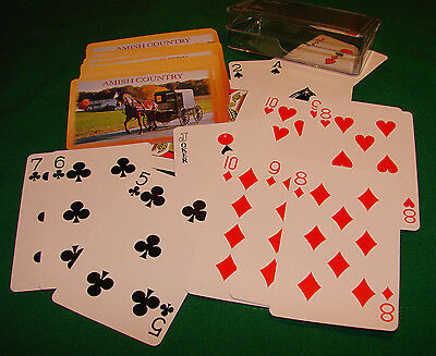"""Amish Country Playing Cards 2-1/4"""" x 3-1/2"""" Plastic Box Nice Gift"""
