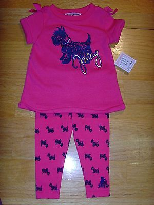 New Juicy Couture Infant/Baby Girl short sleeve pink tunic top legging set 18-24