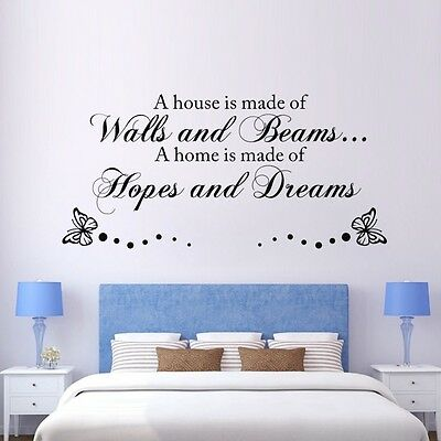 Quote A HOUSE IS MADE OF LOVE  Wall Sticker Mural Decal Vinyl Decor XD01