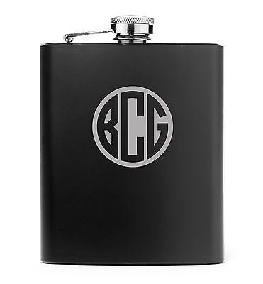 Monogram Engraved 7oz Stainless Steel HIP FLASK  MATTE BLACK     PERSONALIZED