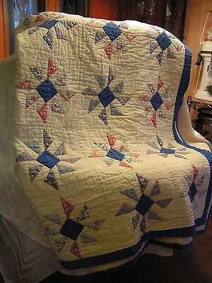"""BEAUTIFUL ANTIQUE VINTAGE 1939 HAND MADE QUILT 98X67 """"SIGNED"""""""
