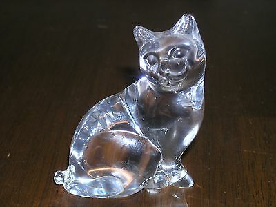 Clear Glass Cat Figurine Made in France 1988