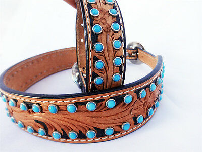 """WESTERN TURQUOISE STONE FLORAL TOOLED LEATHER CANINE DOG COLLAR XL LARGE 18"""""""