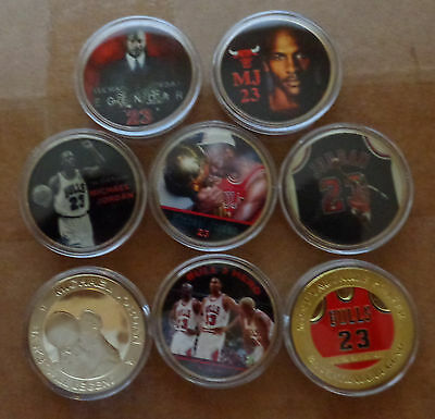 collection  set of 8 coins   Michael Jordan   24 kt gold plated    coin