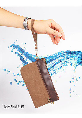 Hot Men Women Vintage Clutch Wrist Bag Handbag Canvas Wallet Tote Purse Brown