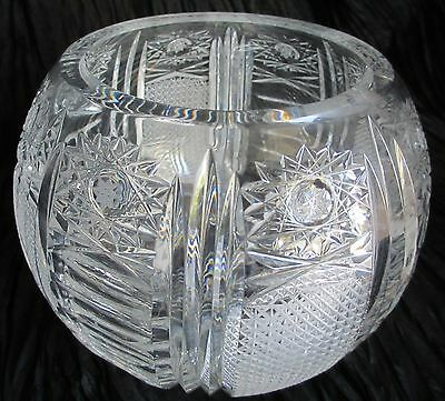 "Vintage Hand Cut Lead Crystal Glass Candy Bowl  6.75 W - 6"" H  3.6 lb"
