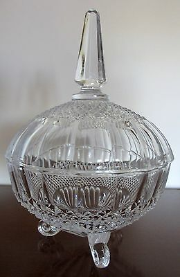 "Vintage Hand Cut Lead Crystal Glass Beautiful Candy Bowl & Lid 9""H - 6"" W"
