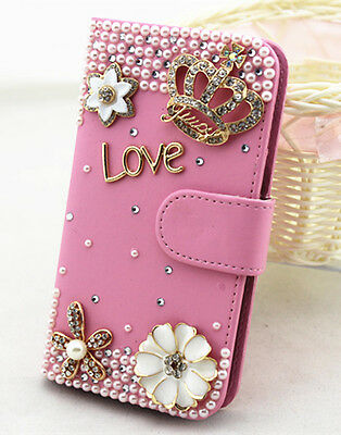 Diamonds crystal PU leather wallet flip cover Case skin for Apple iphone 3G 3GS