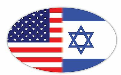 "(Set of 2) American USA Israel Dual Flag Star of David Sticker Decal 3""x5"" FP019"