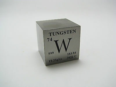 1 inch 25.4 mm Pure Tungsten metal element cube periodic table 99.95% pure 316 g