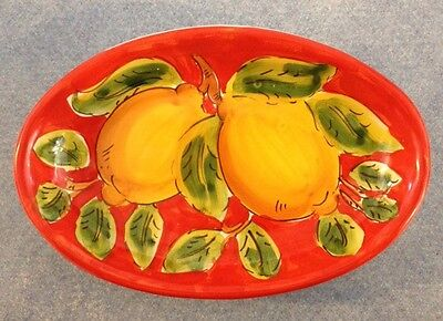 Vietri Pottery-7,1/2inch Oval lemon.Made/Painted by hand in Italy