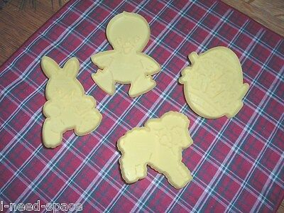 4 Yellow Plastic Easter Cookie Cutters Wilton 1990 Rabbit Duck Lamb Egg