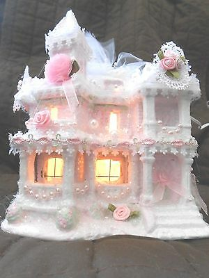 Shabby Victorian Christmas village house-chic-roses, pearls and lace.