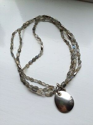 Beautiful Vintage Robert Lee Morris Sterling Silver & LabradoriteToggle Necklace