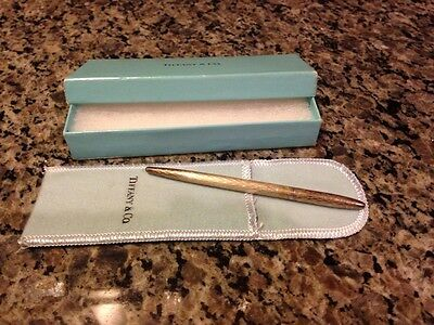 Vintage Tiffany & Co 925 Sterling Silver Ball Point Pen w Pouch & Box Diamond