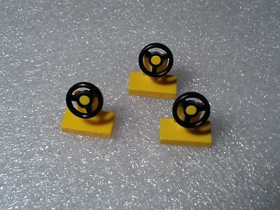 LEGO VEHICLE PARTS Steering Wheel Yellow 1x2 car truck city town lot of 3pcs