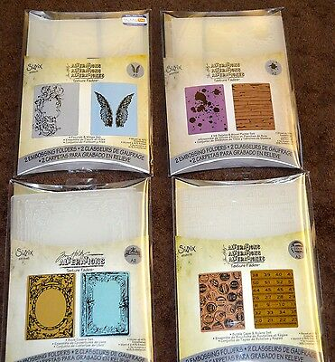 Sizzix Alterations Tim Holtz Embossing Folders - Lot of 4 Sets of 2