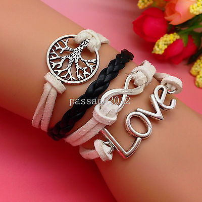 NEW DIY Fashion LOVE Tree Leather Cute Charm Bracelet plated Silver C133