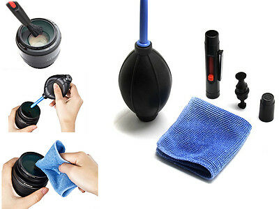 GRUS 3 in 1 Lens Cleaning Cleaner Dust Pen Blower Cloth Kit For DSLR VCR Camera