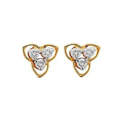 Certified 0.12Ct with I2/G Round Cut Real Natural Diamond Earring in 10K Gold